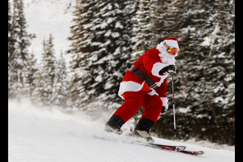 Santa Claus shreds his way down Strawberry at Sunshine Village on Sunday, Dec. 15, 2019. CHELSEA KEMP RMO PHOTO