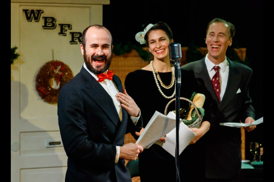 """Phill Nugent as """"Jazzbo"""" Heywood, Kristin Slagorsky as Sally Applewhite and Jeremy White as Jake Laurents perform a scene from the Theatre Canmore Radio Play It's A Wonderful Life at artsPlace on Sunday, Dec. 15, 2019. CHELSEA KEMP RMO PHOTO"""