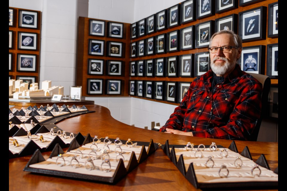 Rocky Mountain Custom Jewellery  owner Peter Kangas shows of his handcrafted bespoke rings on Tuesday (Jan. 7). CHELSEA KEMP RMO PHOTO