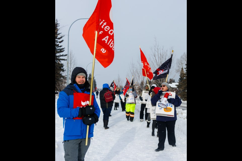 Second Vice President with the United Nurses of Alberta Cam Westhead participates in an AUPE rally against health care budget cuts in front of the Canmore Hospital on Monday, Jan. 13, 2020. CHELSEA KEMP RMO PHOTO