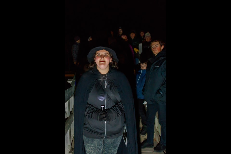 Banff and Canmore Ghost Walks creator Maxine Bennett leads a tour through Canmore on Saturday, Oct. 19, 2019. The final tours of the season are set to take place on Halloween (Thursday, Oct. 31). (Photo by Chelsea Kemp RMO PHOTO)