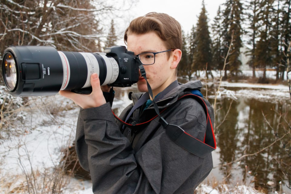 Canmore co-ordinator Ethan Denton prepares for the Banff-Canmore Christmas Bird Count near Policeman's Creek on Tuesday, Nov. 26, 2019. CHELSEA KEMP RMO PHOTO