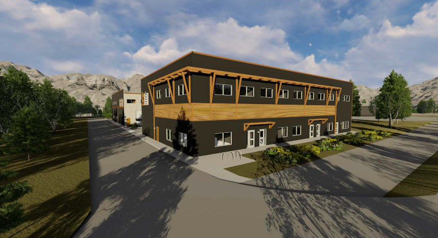 An artist's rendering of the proposed Moose Meadows Business Park development along Bow Valley Trail in Canmore. BOYCHUCK DESIGN BUILD IMAGE