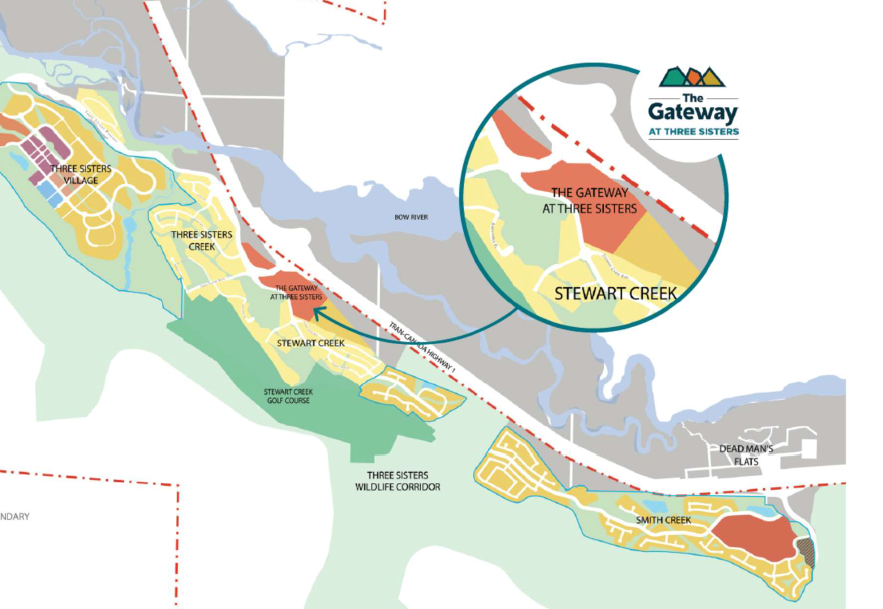 While Three Sisters Mountain Village is working toward submitting two new area structure plans for approval, it also has plans for a new commercial subdivision called The Gateway. SUBMITTED IMAGE