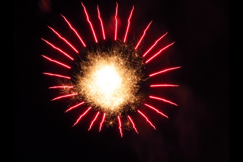 Pyrotechnics lit up the prairie sky in the village of Elbow.