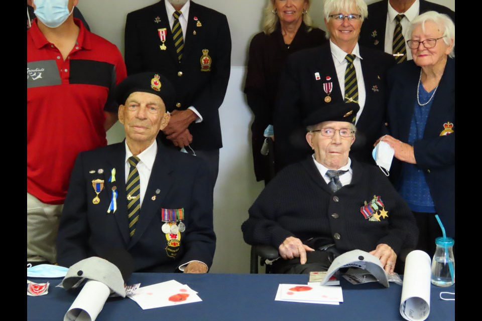 Robert Taylor and Lyman Peardon, a combined age of nearly 200 years, were the guests of honor at a gathering in Loreburn.