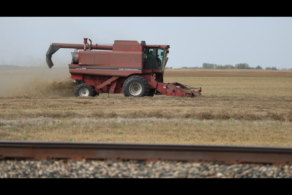 Combining is ongoing as was the case on a farm west of Langenburg recently.