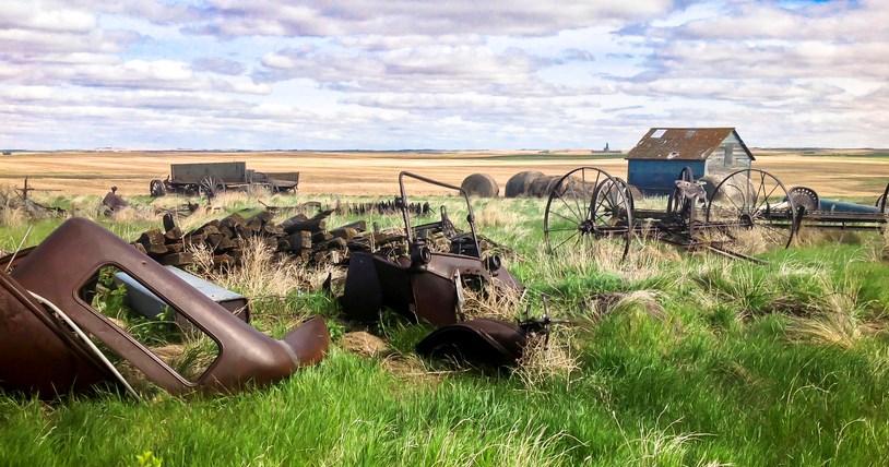 old harvest equipment