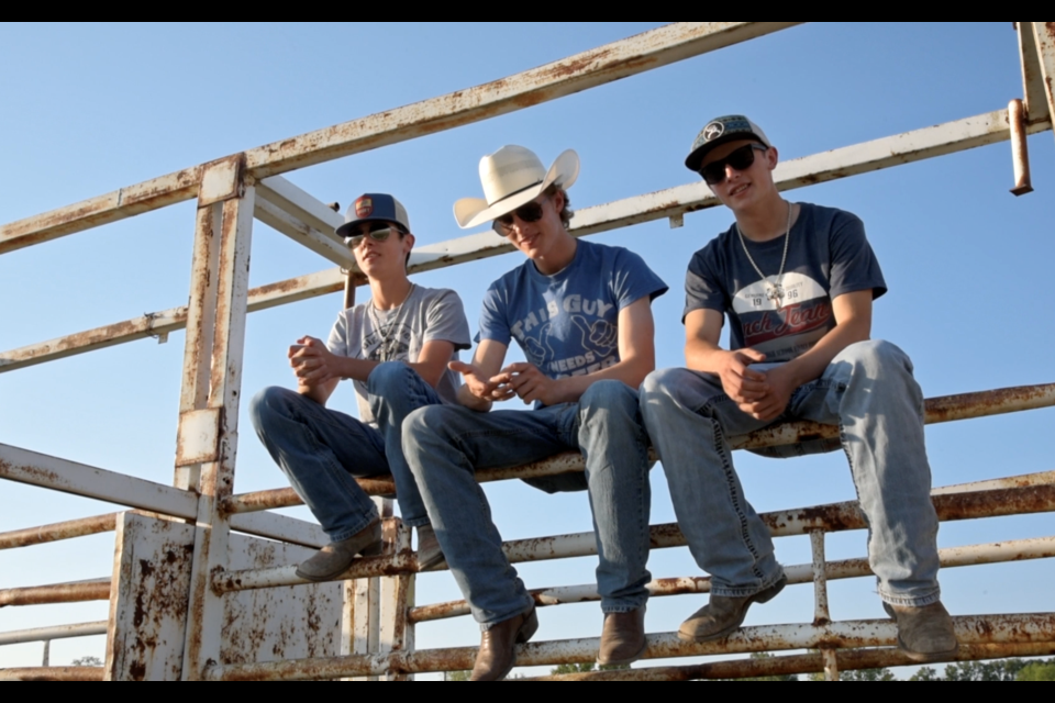 """L-R: Orrin Marshall, Chance Sjogren and Liam Marshall and their 2018 rodeo season are the subjects of Sask. filmmaker Kristin Catherwood's newest documentary, """"Lift, Spur."""""""
