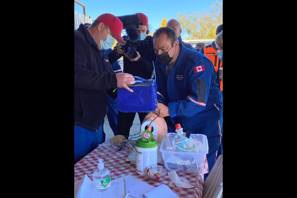 Ryan Saxon, alongside other participants and STARS paramedics, had to take on challenges during the Rescue in the Prairie fundraiser.