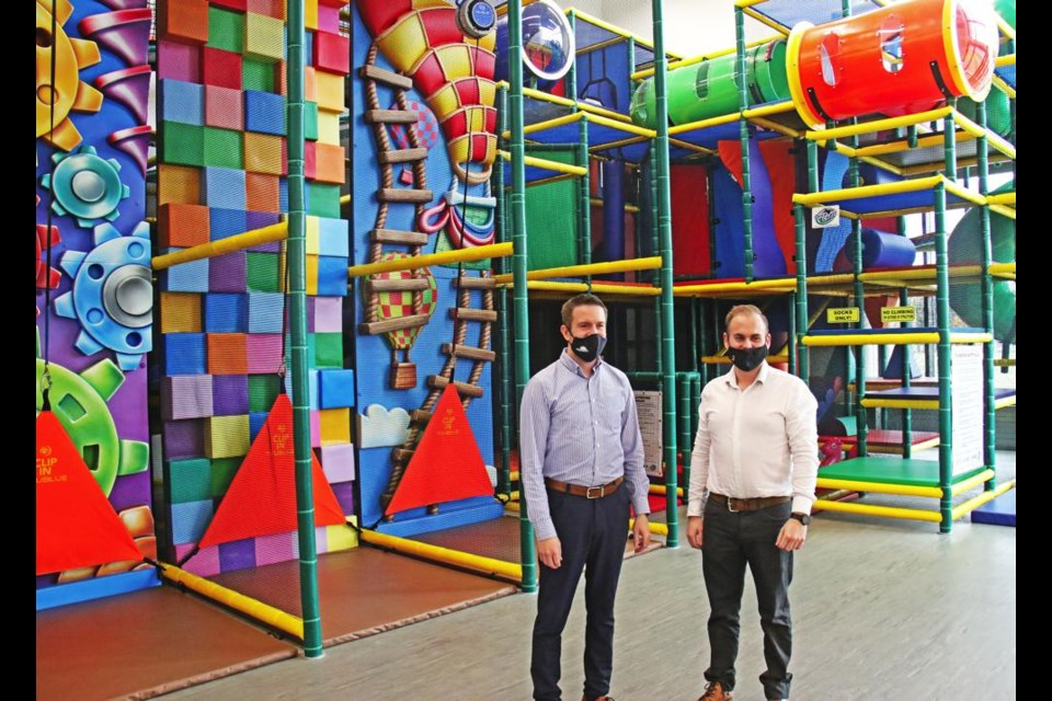 Andrew Crowe and Ryan Dale show off the new play area in the Spark Centre.