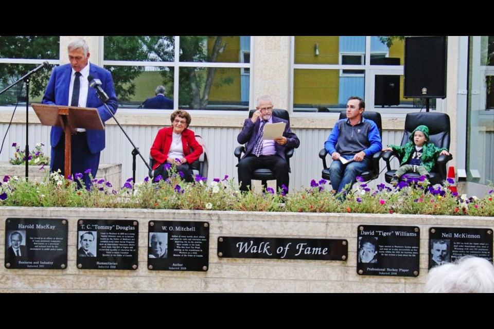 Mayor Marcel Roy spoke at the induction ceremony for the Walk of Fame at Weyburn's City Hall.