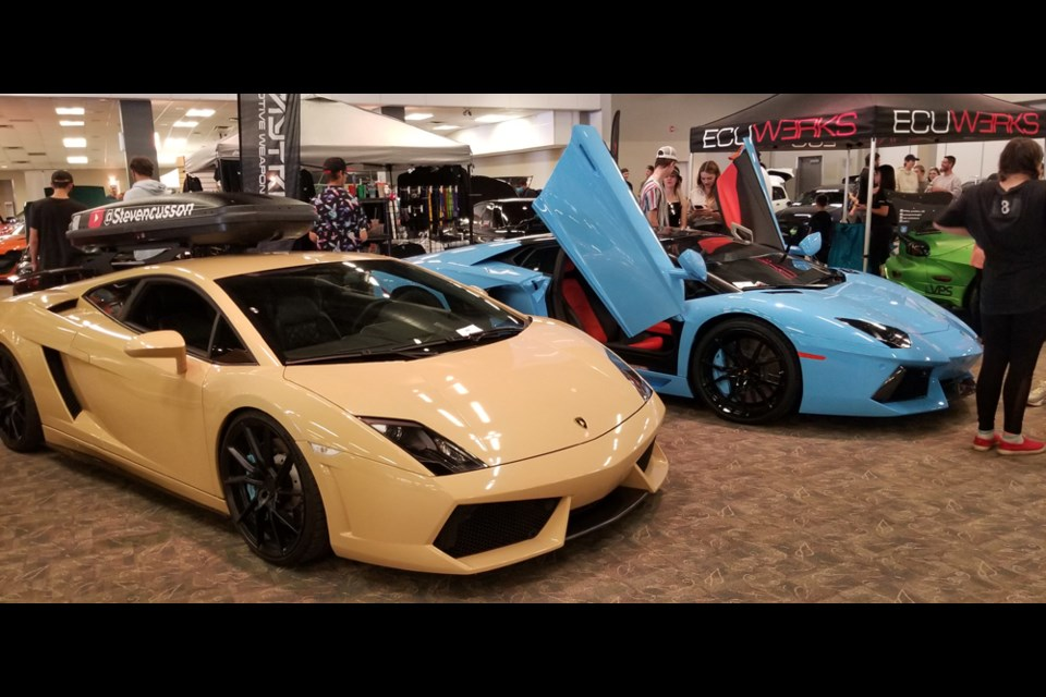 The pair of Lamborghinis owned by businessman Steven Cusson among the cars on display in last Saturday's Driven Saskatoon autoshow at Prairieland Park.