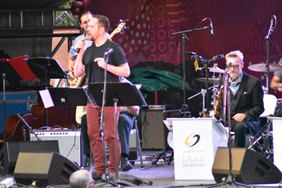 Todd Martin of Winnipeg performs with the Saskatoon Jazz Orchestra on Tuesday night in the fourth day of the 34th SaskTel Saskatchewan Jazz Festival at the TD Mainstage Bessborough Gardens.