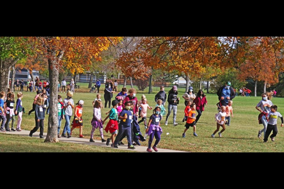 Students walked, and some ran, as they took part in the Terry Fox School Run on Wednesday in Jubilee Park.