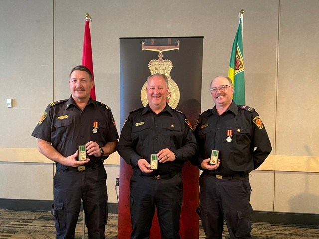 Peter Sieben, Justin Bast and Rod Soderlund were all recipients of the province's 25 year protective services medal in 2021.