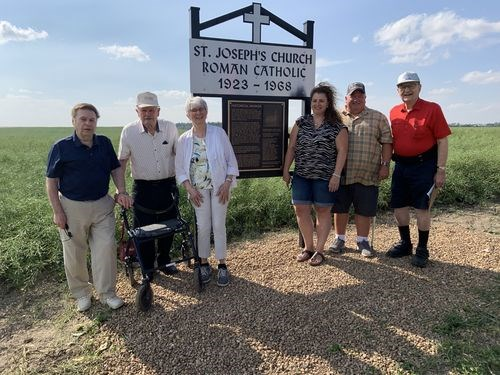 The unveiling and dedication of the historical roadside marker for the St. Joseph (better known as St. Anne's) Roman Catholic Church southeast of Hyas was held on August 8. Members of the Historical Marker Committee for the mission of St Anne's who attended the dedication, from left, were: Benny Lozinski, Matt Lozinski, Sylvia Lozinski, Lauri Lozinski, Ken Lozinski and Larry Lozinski.