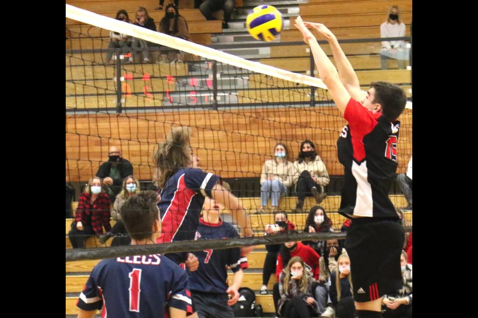 Weyburn Comp Eagles player Dalton Molnar was up to block a spike from the Estevan Elecs, during the Co-op Challenge on Tuesday night.