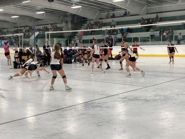 Wilkie girl's volleyball team in action at Super-Volley 2021, held at the SaskCan events centre Sept. 10-11.