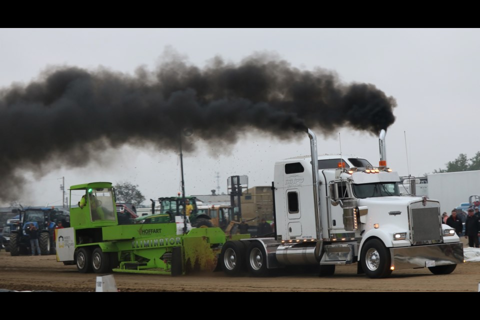 A semi pull was part of a tribute to the late Art Bilous.
