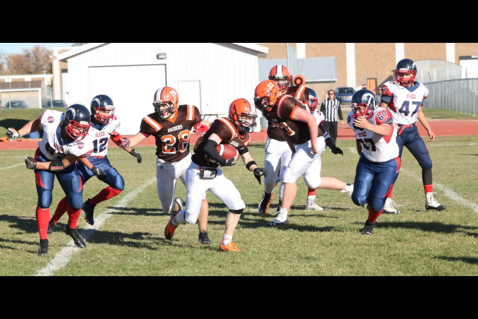 The Yorkton Regional Raiders scored on two early possessions and ended up winning big.