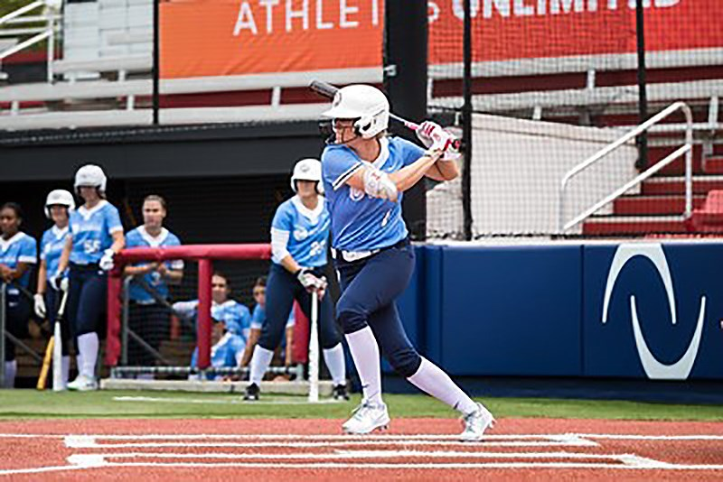 Canadian softball player Victoria Hayward in action with Athletes Unlimited.
