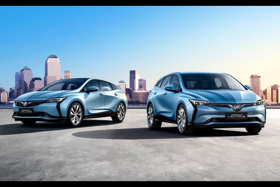 THE Buick VELITE 6 plug-in hybrid (left) and VELITE 6 electric (right) Credit General Motors