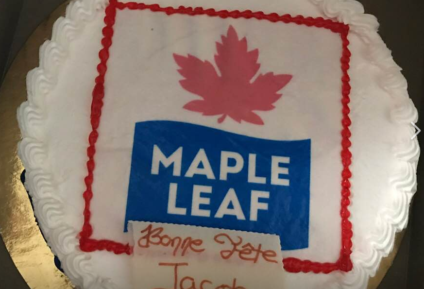 Enjoyable Leafs Fan Gets Birthday Cake With Maple Leaf Foods Logo On It By Personalised Birthday Cards Sponlily Jamesorg