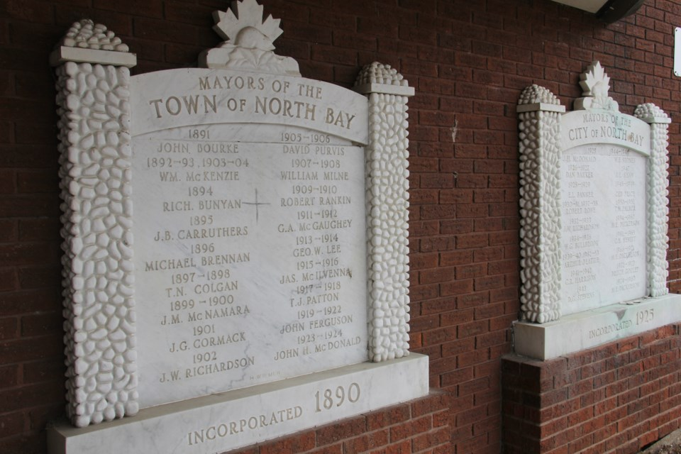 USED 2021 2018-07-12goodmorning   8  Town of North Bay Mayors 1891-1905 plaque at City Hall. Photo by Brenda Turl for BayToday.