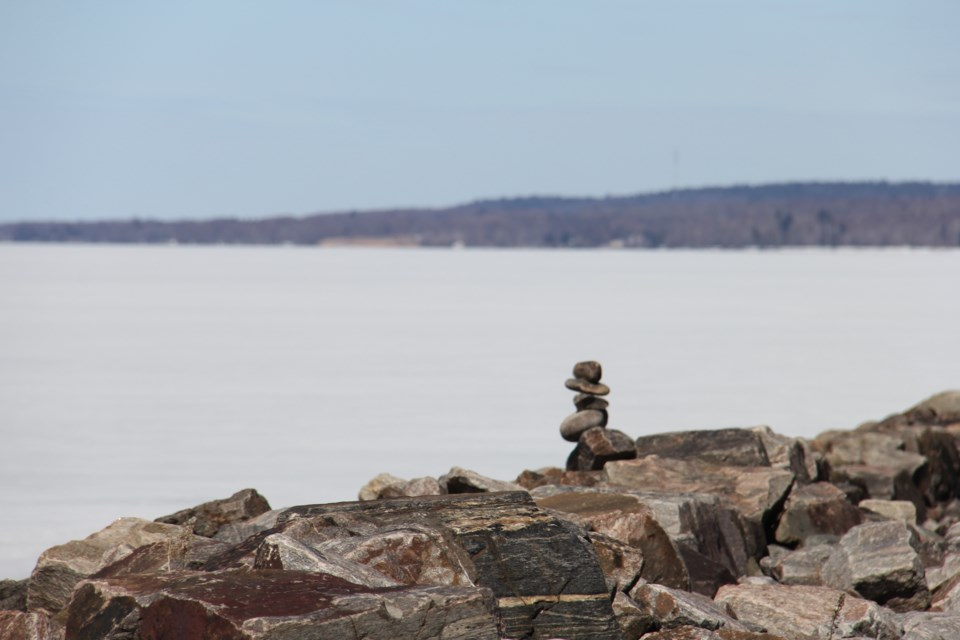 USED 2019-04-18goodmorning  5 Lonely inukshuk at the waterfront. Photo by Brenda Turl for BayToday.