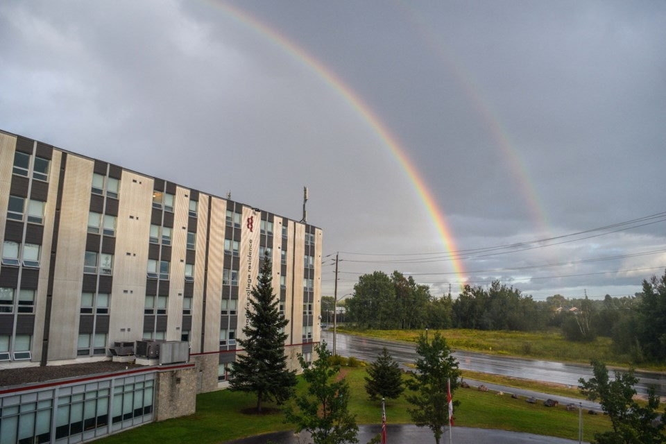 USED 2021-9-14goodmorningnorthbaybct  6 Double Rainbow over Canadore College Residence. North Bay.Submitted by  Connor Earl
