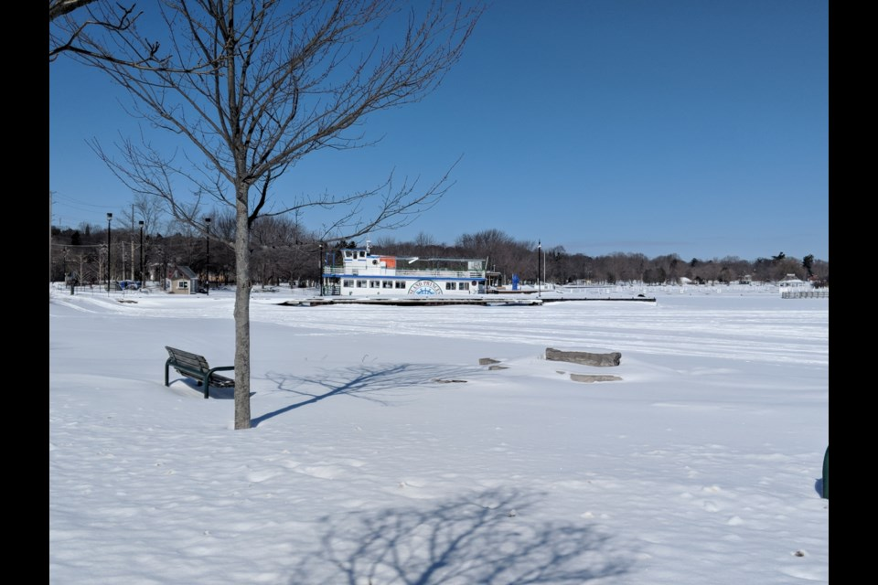 The Island Princess remains mired in ice and moored at the town dock, waiting for spring. Dave Dawson/OrilliaMatters file photo