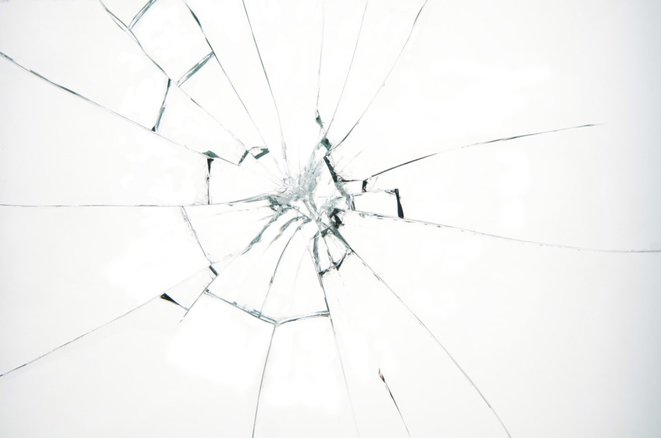 cracked windshield stock