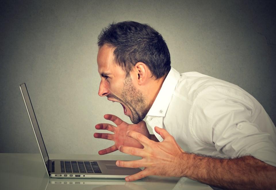 frustrated man computer laptop stock