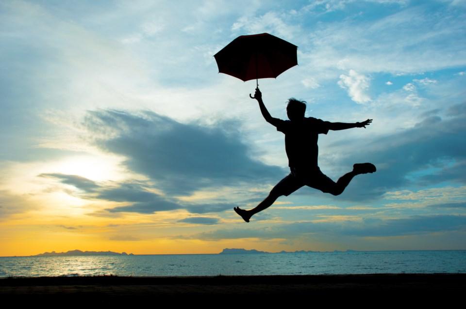 happy jump for joy stock