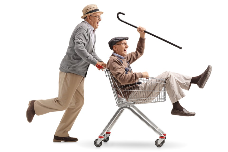Don't worry - no seniors at Simcoe Manor are riding in shopping carts! And soon they will have a new bus, as the facility is in the process of raising money for one. Stock image