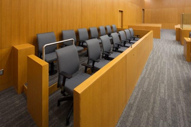jury empty chairs stock