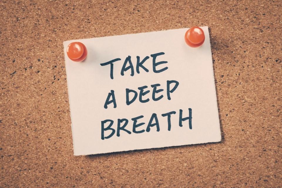 keep calm deep breath stock