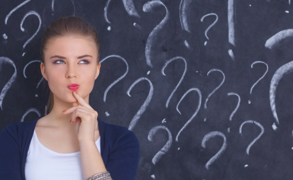 question thinking woman