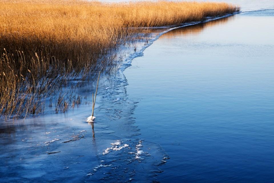 thin ice springtime stock