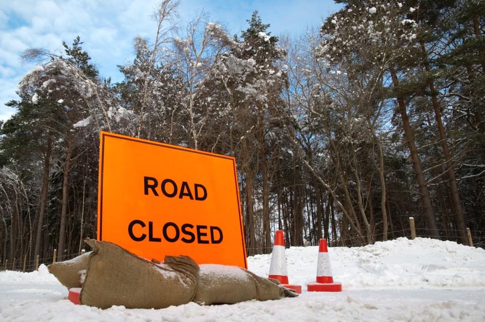 road closed winter AdobeStock