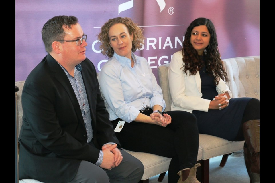 A brief panel discussion was held this week to promote the upcoming Beyond Digital Transformation (BDT) which is being held in Sudbury in February.  Panelists included, at left, KGHM engineer Neil Milner, Vale engineer Patti Pegues and PACE CEO Neha Singh. Photo: LEN GILLIS / SMSJ 2020