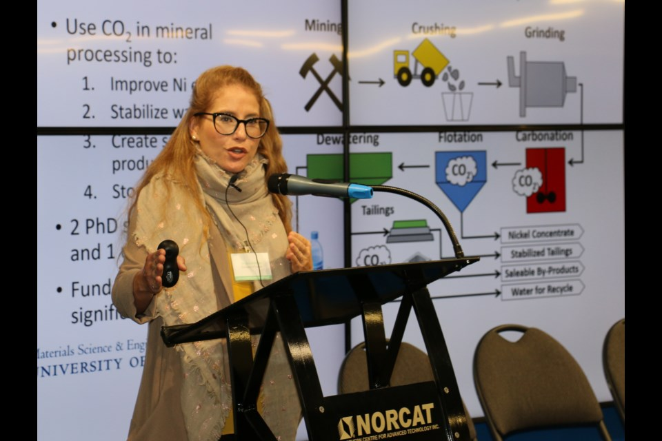Dr. Erin Bobicki, a chemical engineering professor at the University of Toronto, is researching how to remove CO2 from nickel ore and to use mine tailings capture carbon from the environment. Bobicki was part of a recent Northern Ontario innovation event sponsored by the Ontario Chamber of Commerce and hosted at NORCAT in Sudbury.  LEN GILLIS/SMSJ2019