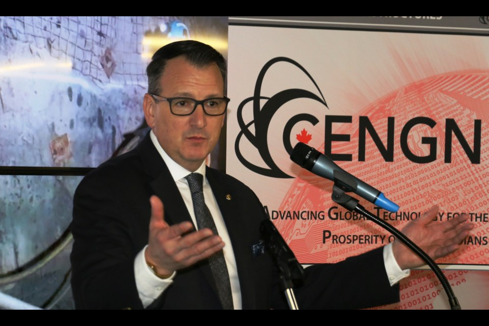 :   Greg Rickford, Ontario's minister of Energy, Northern Development and Mines, announced a new partnership Thursday that will see research into new digital underground communications. The $1.3 million project will be carried out at the NORCAT Underground Centre in Onaping. (PHOTO: Len Gillis / SMSJ 2020)