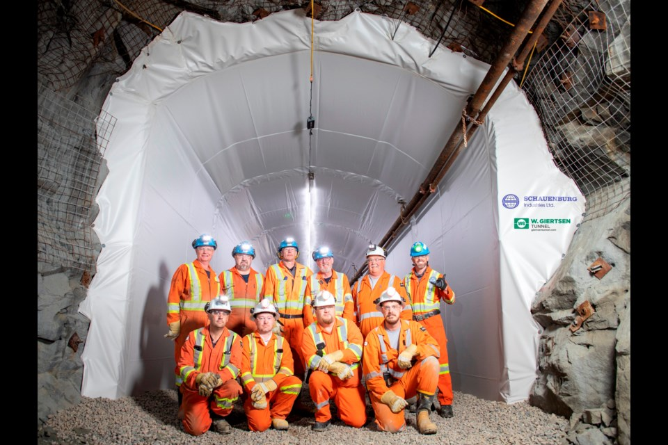 "A 30-metre length of drift at the NORCAT Underground Centre was recently ""waterproofed"" using a system provided by W. Giertsen Tunnel AS of Norway.  The product is being introduced in Canada by Schauenburg Industries Ltd. of North Bay. (Photo for Schauenburg by James Hodgins)"