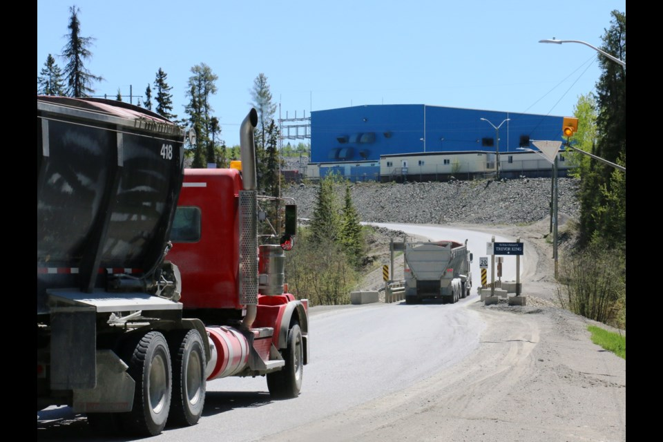 Ore trucks arriving at the Timmins West mining complex on Highway 101 West.  Ore is hauled daily from the Timmins West mines to the Bell Creek milling complex in the city's east end. The mines, previously owned by Tahoe Resources, were sold to Pan American Silver as part of a billion dollar deal that was approved earlier this year. Pan American has revealed it has put the Timmins mining operations up for sale.  LEN GILLIS / SMSJ 2019