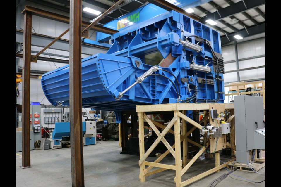 The prototype version of the new mining chute created by Variant Mining Technologies in Sudbury to be installed at the Oyu Tolgoi copper mine in Mongolia. (Len Gillis photo)