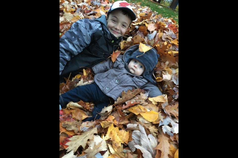 Wyatt Mageran, 9, and Russell Mageran, eight months, are excited to hopefully get their snowman building business up and running.