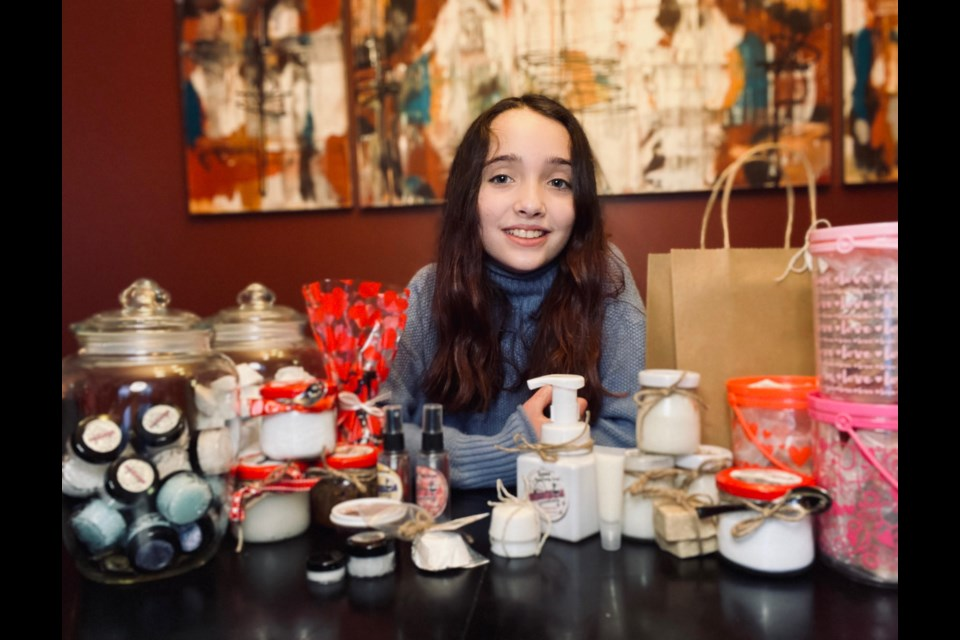 10-year-old Kassidy Gioia with her homemade products.