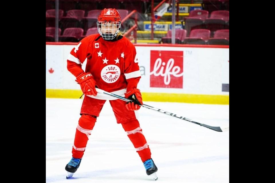 12-year-old Skylar Ruschpler in her team jersey.